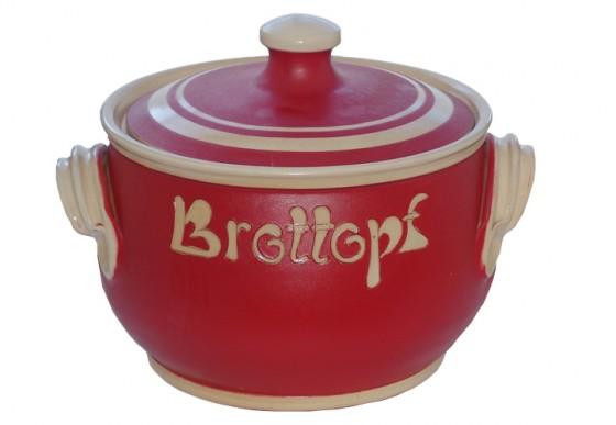 Brottopf Klassik 2 kg - einfarbig rot, Rand natur
