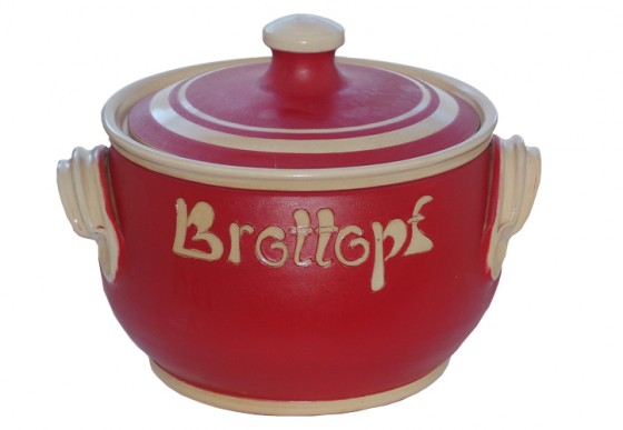 Brottopf Klassik 4 kg - einfarbig rot, Rand natur