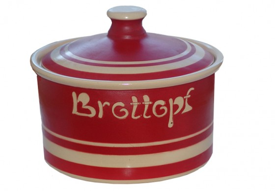 Brottopf Modern 1 kg - einfarbig rot, Rand natur