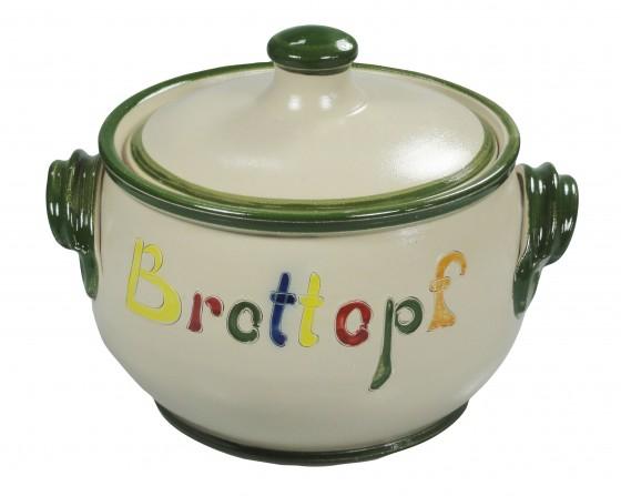 Brottopf Klassik 2 kg - natur, Rand grün, Schrift bunt