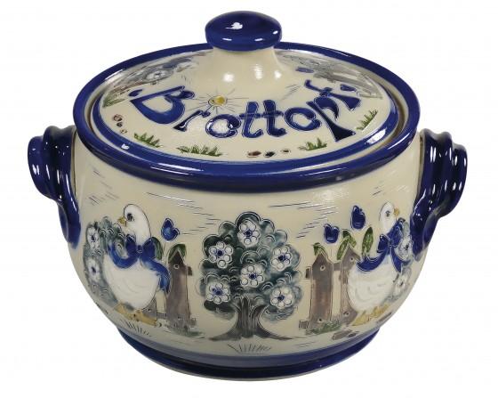 Brottopf Klassik 1 kg - Gänse, Rand blau