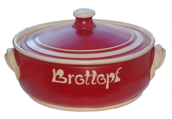 Brottopf Klassik flach 2 kg - einfarbig rot, Rand natur